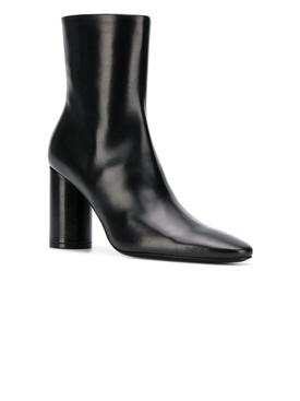 oval leather booties BLACK