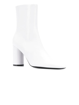 oval leather booties WHITE