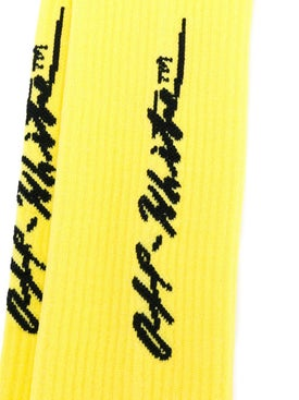 Off-white - Cursive Logo Intarsia Socks Yellow - Women
