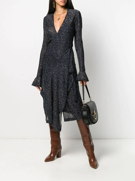 Navy lurex wrap dress