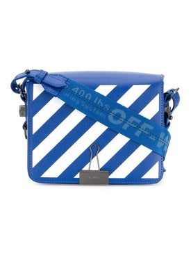 Off-white - Diagonal Stripe Binder Clip Crossbody Bag Blue White - Women