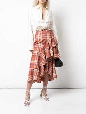 check print midi skirt