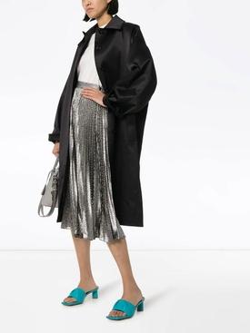 Silver metallic midi skirt