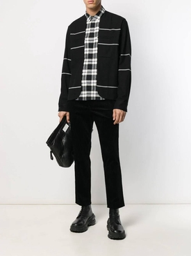 Stripe and check print shirt