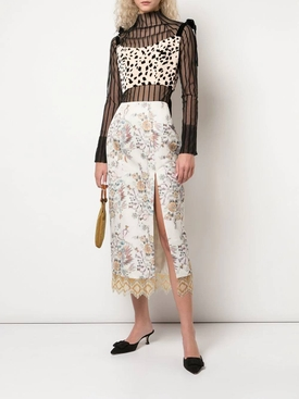 Fringed floral brocade skirt