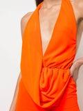 Area - Orange Halter Neck Jumpsuit - Women