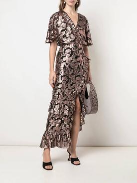 Metallic rose brocade dress