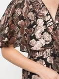 Saloni - Metallic Rose Brocade Dress - Mid-length
