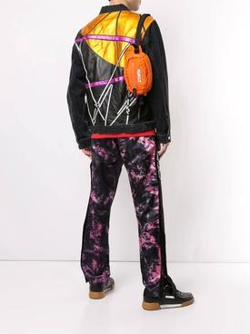Multicolored paneled denim jacket