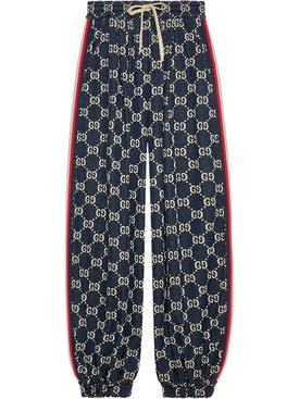 Gucci - Navy Gg Logo Pants - Women