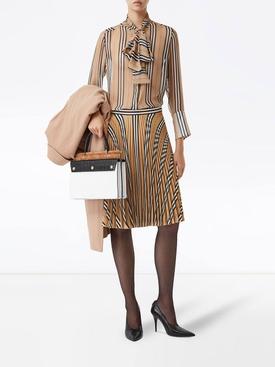Silk check print skirt