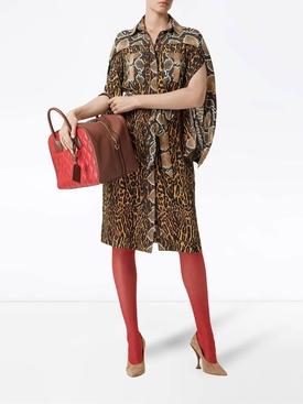 Silk animal print shirt dress