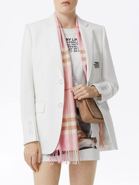 Pink check print cashmere scarf