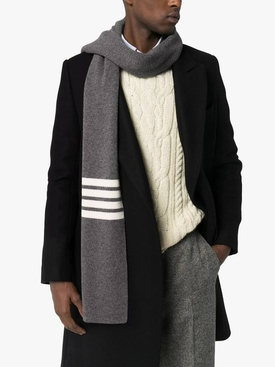 4-bar stripe cashmere scarf GREY