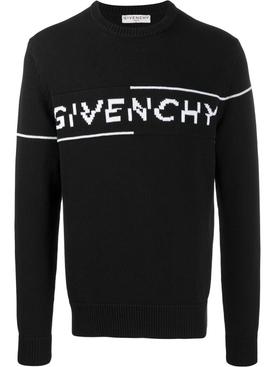 Intarsia logo knit sweater BLACK/WHITE