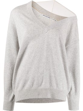 Alexanderwang - Off-shoulder Sweater With Mesh Inlay Grey - Tops