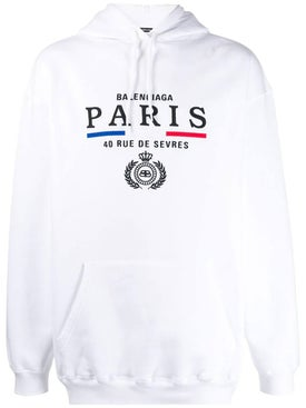 Balenciaga - Paris Embroidered Logo Hoodie White - Men