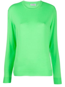 Balenciaga - Intarsia Logo Crewneck Sweater Green - Women