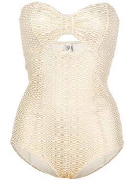 Lisa Marie Fernandez - Buckle Bandeau Maillot White And Gold - Women