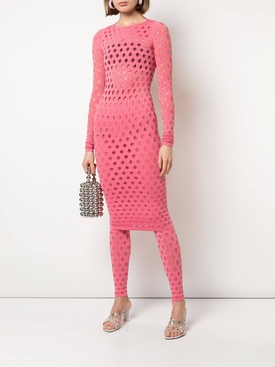 Pink perforated midi dress
