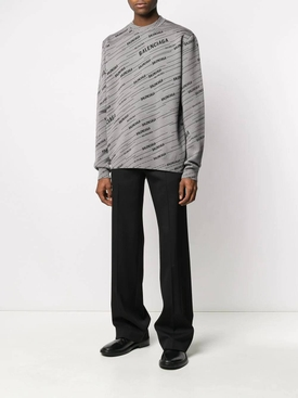 Diagonal Logo crewneck Jumper Grey