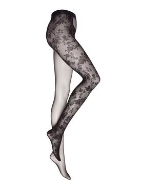 X Amina Muaddi Split Lace Tights Black