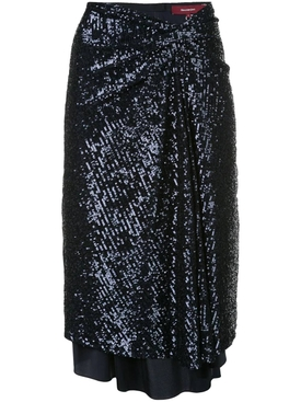 Navy sequin wrap skirt