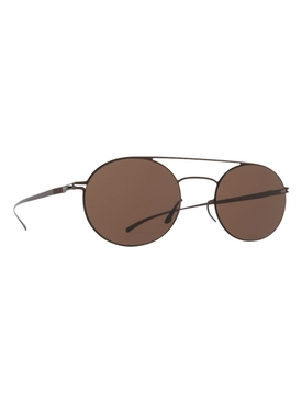 DARK CAMEL TINTED OVAL SUNGLASSES