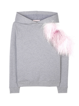 Grey Pom Pom Cut-Out Hoodie