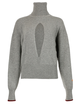 CLASSIC SPLIT FRONT TURTLE NECK CASHMERE SWEATER GREY