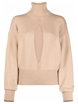 CLASSIC SPLIT FRONT TURTLE NECK CASHMERE SWEATER BUTTER