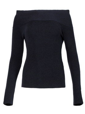 WASHED DOUBLE FACE OFF-SHOULDER BARDOT TOP NAVY
