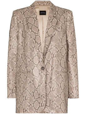 Leather Snake-print Blazer