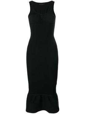 peplum hem bodycon dress BLACK
