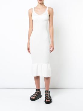 peplum hem bodycon dress WHITE