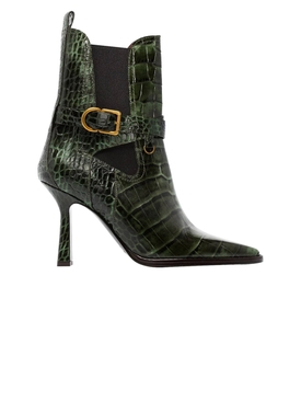 Green croc-embossed Naomy boots