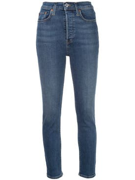 Re/done - Blue High-waisted Skinny Jeans - Women