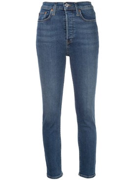 Re/done - Blue High-waisted Skinny Jeans - Denim