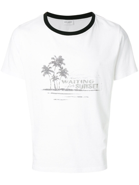 Waiting for Sunset T-shirt WHITE/BLACK COLLAR