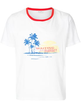 Saint Laurent - Waiting For Sunset T-shirt White/red Collar - Men