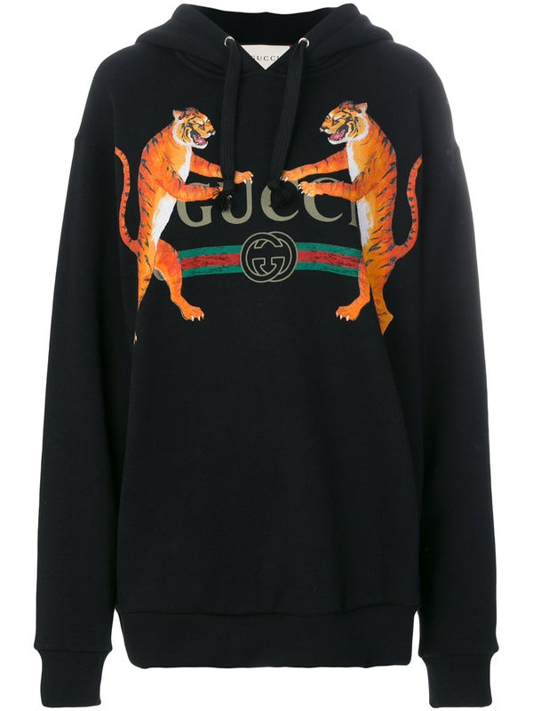 8530f3290 Gucci - Logo And Tigers Print Hoodie - Women