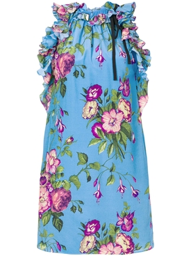 floral print tunic top BLUE