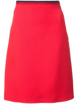 knitted Web a-line skirt RED