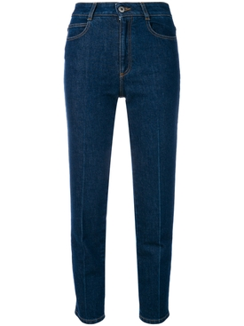 high-waisted slim jeans BLUE