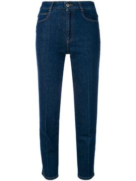 high-waisted slim jeans BLUE