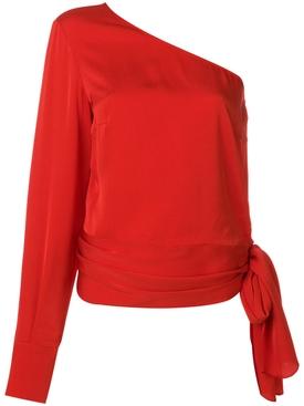 one shoulder top RED