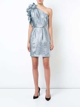one-shoulder belted dress SILVER