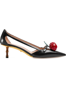 Leather cherry pumps