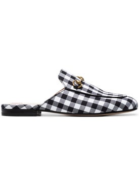 Gucci - Black Gingham Princetown Mules Black/white - Women