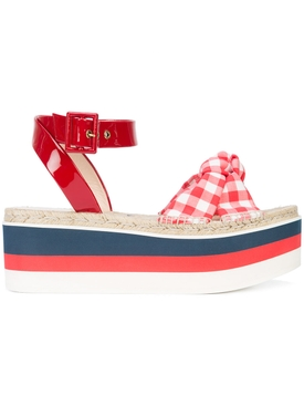 stacked sole sandals RED